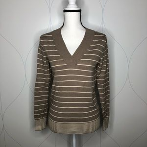 Gap striped v-neck sweater taupe Small